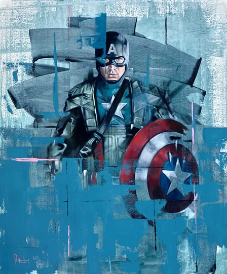 Captain America II by Pete Hawkins - Original Painting on Box Canvas